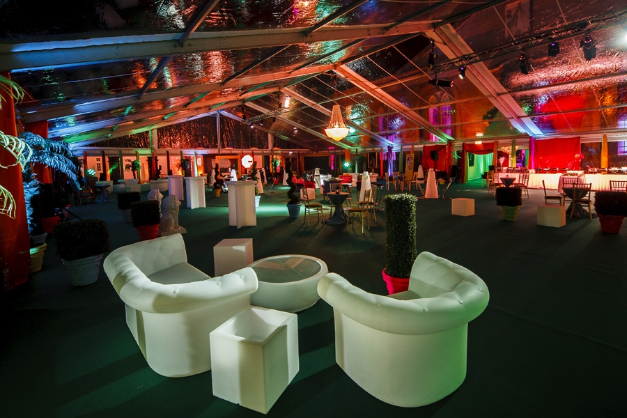 This Christmas party from Google is an example of how to use corporative colours in a delicate, elegant way, with amazing results. More pictures in http://www.donohuemarquees.com/corporate_events/event/google_christmas_party/